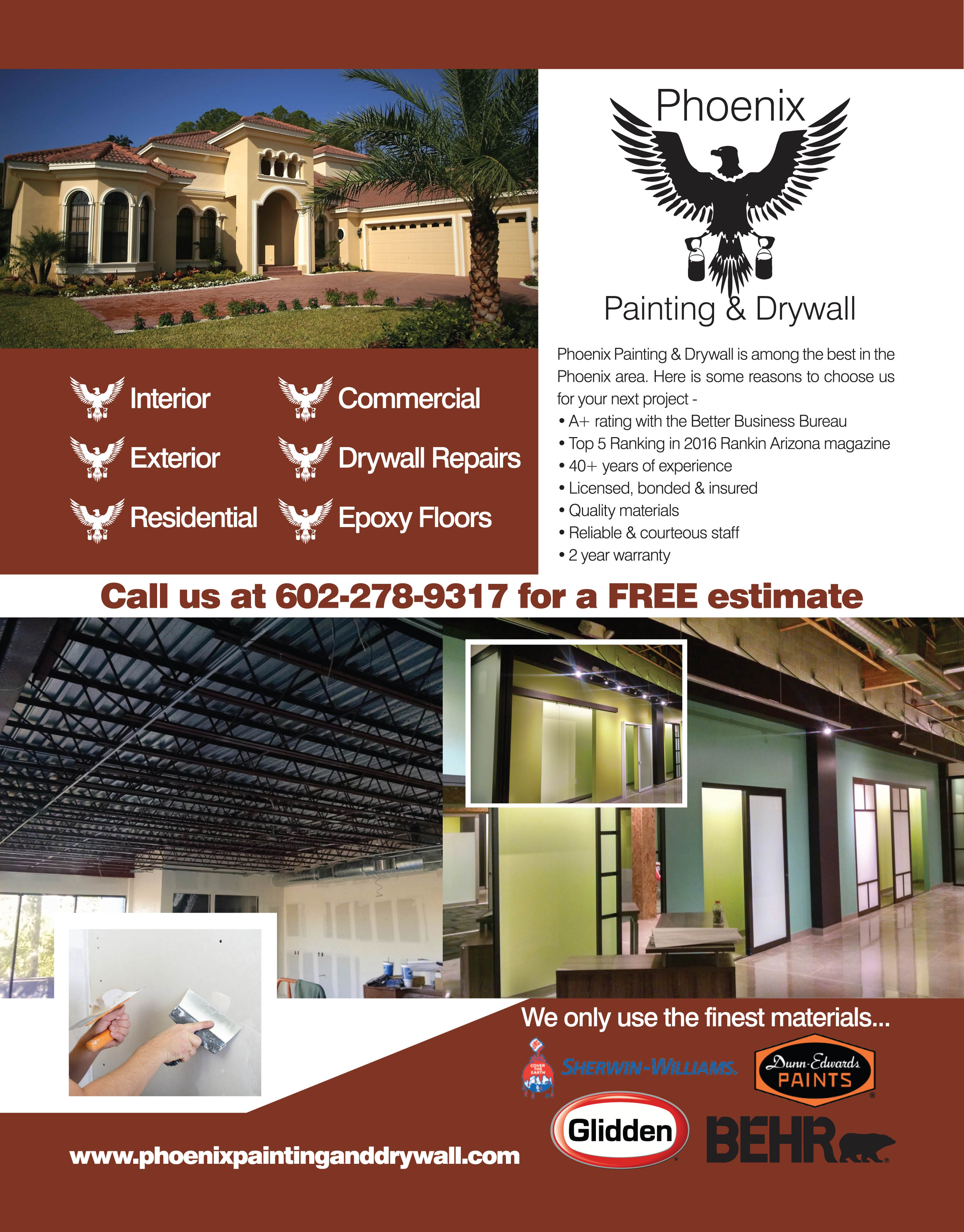 Painting residential and commercial houses and businesses Ahwatukee, Avondale, Scottsdale, Gilbert, Chandler, Laveen, Glendale, Carefree, Sun City, Peoria, Goodyear, Youngtown, El Mirage, Phoenix, Tempe, Litchfield park , Surprise, Waddell, Mesa, Anthem